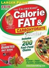 Calorie King  Fat and Carbohydrate Counter 2016 LARGER PRINT The Calorieking