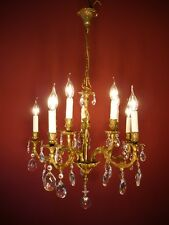 FINE 10 LIGHT BRASS FRENCH CHANDELIER CRYSTAL GLASS VINTAGE OLD ANCIENT
