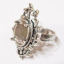 2 of 14x10 mm Antique Silver Victorian Loops & Leaves Adjustable Ring Settings