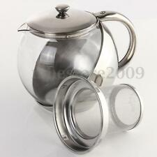 Stainless Steel Glass Teapot With Herbal Infuser Tea Leaf Filter Strainer 900ML
