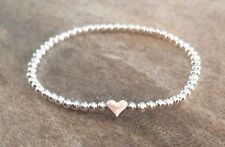 Simple Silver Heart Ball Beaded Stretch Bracelet Stacker Gift