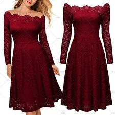 Women Vintage 1950s Cocktail Evening Party Casual A-line Full Lace Pleated Dress