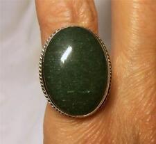 Hermosa Plata & Green Ágata Anillo ~ Cuerda Twist Borde ~ tamaño del Reino Unido o ~ 7.3 Gr