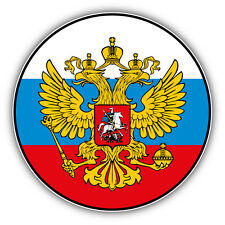 "Russian Two Headed Eagle Flag Car Bumper Sticker Decal 5"" x 5"""