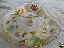 VINTAGE BOHEMIAN MOSER ART GLASS ETCHED FLORAL GOLD GILT LOW BOWL w/ COMPOTE