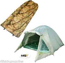 CARP FISHING 2 MAN DOUBLE SKINNED GREEN BIVVY TENT SHELTER + CAMO SLEEPING BAG