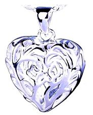 """Puffy Hollow Heart Pendant  Great Gift   NEW  Valentine Gift  18"""" Chain"""