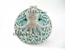Crystal OCTOPUS Party silver Evening purse clutch bag handbag IN FREE SHIPPING