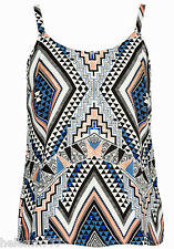 Costa Rico Geometric Size 18 Hand Beaded Cami Light Sheer Polyester Cami Top