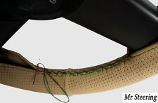 FOR BMW E39 1996-2003 BEIGE PERFORATED LEATHER STEERING WHEEL COVER GREEN STITCH
