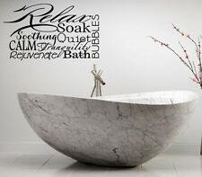 RELAX SPA BATHROOM RULES LETTERING BATH WORDS  VINYL DECOR DECAL WALL  ART