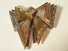Vintage Gold And Silver Tone Layered Bow Brooch With Marcasite Edge