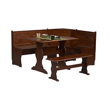 Corner Breakfast Nook Solid Wood Kitchen Dining Set Table Bench Chair Booth Pine