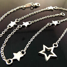 A915 GENUINE REAL 925 STERLING SILVER S/F LADIES STAR PENDANT NECKLACE CHAIN