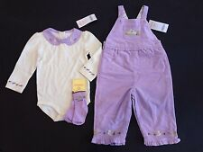 NWT Gymboree Fun in the Snow 12-18  Lavender Bird Overalls Bodysuit & Socks