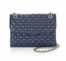 NWT Rebecca Minkoff AFFAIR Diamond Quilted Leather Shoulder Bag Navy BLUE $295