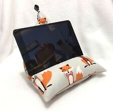 Handmade iPad Tablet Kindle Beanbag Pillow Stand In Robert Kaufman Fox Grey