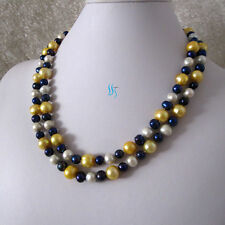 """38"""" 7-11mm White Navy Gold Freshwater Pearl Necklace"""