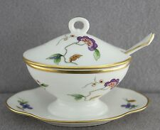 ESTATE - GINORI BONE CHINA MINIATURE SAUCE TUREEN ON TRAY OLD CHINESE PATTERN