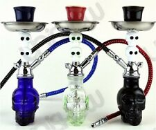 "Smoking Water Pipe 7.5"" Hookah Tobacco Skull Bowl Set Glass Vase Bong Shisha"