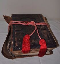 Large Antique Leather Family German Bible Book Late 1800s Chandler Bros.