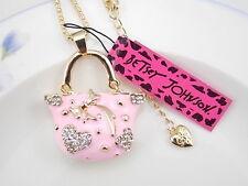 Betsey Johnson pink crystal Rhinestone handbag pendant necklace # F350C