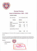 GEORGE FLEMING HEART OF MIDLOTHIAN 1966-1972 ORIGINAL HAND SIGNED CUTTING/CARD