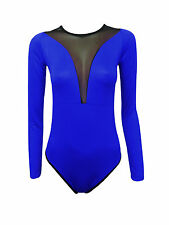 NEW WOMENS CELEBRITY LADIES MESH INSERT LONG SLEEVE LEOTARD BODYSUIT SIZE 8 -14