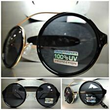 VINTAGE RETRO 60's CYBER SUN GLASSES Unique Flexible Round Black & Copper Frame