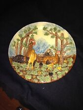 "Rare 10 3/4"" Portugese Palissy Majolica Charger W/ Chickens"