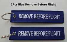 1Pcs Blue Remove Before Flight Tag Zipper Pull Keyring Embroidery Keychain
