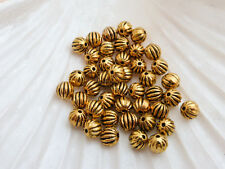 50 x Pumpkin Round Spacer Beads Antique Gold 6mm, Beads Findings (MBX0066)