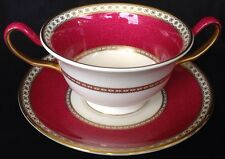 Wedgwood ULANDER POWDER RUBY Cream Soup & Saucer Red Cup. 4 Available •