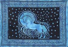 Celtic Knot Blue Unicorn Fantasy Tie Dye Tapestry Wall Hanging Bedding Throw
