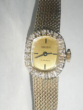 Vintage Gruen 14K Gold with 20 Diamonds 17Jewel Ladies woman Watch working