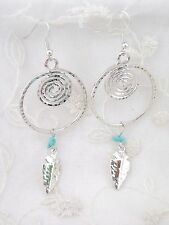 Silver Feather Dangle Dream Catcher Earrings Fashion Jewelry NEW