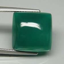 10.52ct. 13.2 x 13 mm. 100% Natural Gem Square Cabochon Green Agate. Unheated