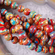 Beautiful 6mm red Multicolor Turquoise Stone Round Gemstone Loose Beads 15""