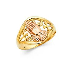 14k Real Solid Two Tone Gold Praying Hands Ring Oro Solido Manos Rezando Anillo