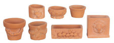 Seven Assorted Garden Pots, Doll House Miniatures Outdoor Accessory 1.12 Scale