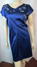 Fab ROBERT RODRIGUEZ Blue Satin Booty Ruched Split Sleeve Cocktail Party Dress 8