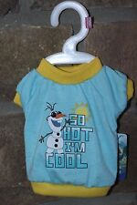 """DISNEY FROZEN  """"So Hot I'm Cool"""" Olaf Apparel For Dogs -Shirt X-SMALL LIGHT BLUE"""