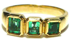 ESTATE VINTAGE MODERN 18K YELLOW GOLD COLOMBIAN EMERALD RING BAND SIZE 6.75