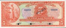 Republique D'Haiti , 5 Gourdes , Decret 12.4.1919 (1964) , P 187s , Sign. V. II