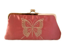 New Chic Women's Vintage Embroidered Butterfly Clutch Bag (Rose Pink) 25x13x5cm