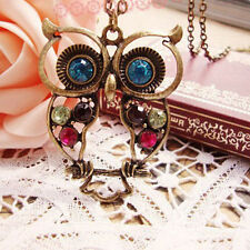 Fashion Retro Womens Vintage Rhinestone Owl Pendant Long Chain Necklace Lovely