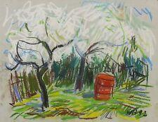 WERNER HASELHUHN - Blühende Bäume - Pastellkreide 1992