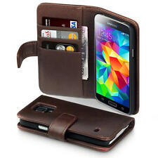 Brown Real Genuine Leather Wallet Case for Samsung Galaxy S5