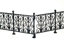 Dollhouse Miniature Ornate Wrought Iron Black Metal Fence, EIWF528