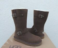 UGG KENSINGTON LEATHER/ SHEEPSKIN BUCKLE BOOTS, YOUTH 5, FITS WOMENS 7/ 38 ~NIB